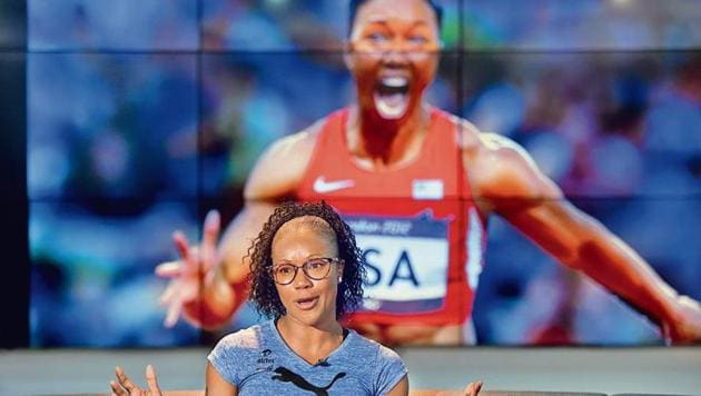 Former sprinter Carmelita Jeter anchored the 4x100m US relay team to gold with a world record timing at the 2012 Olympic Games in London(Amal KS/HT PHOTO)