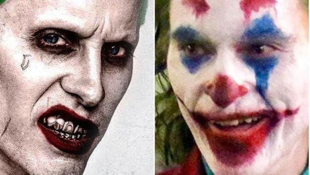 Jared Leto as Joker in Suicide Squad (L) and Joaquin Phoenix in 2019's Joker (R).