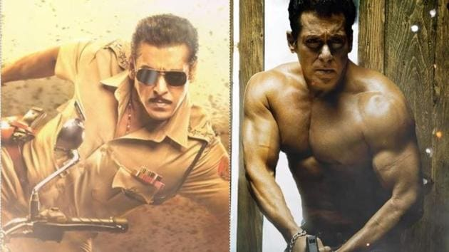 Salman Khan as Chulbul Panday in Dabangg 3 (left) and as Radhe in Radhe Your Most Wanted Bhai (right).