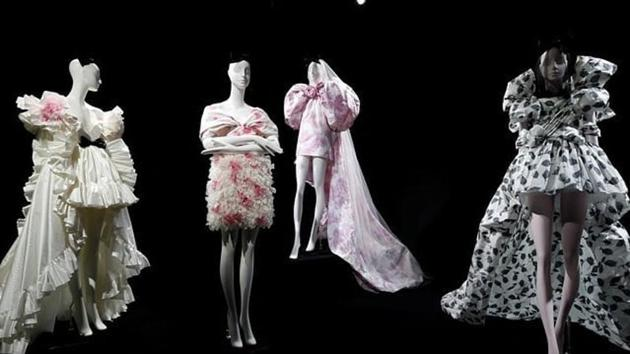 Creations are displayed during an exhibition by designer Giambattista Valli as part of his Haute Couture Fall/Winter 2019/20 collection presentation in Paris. (reuters)