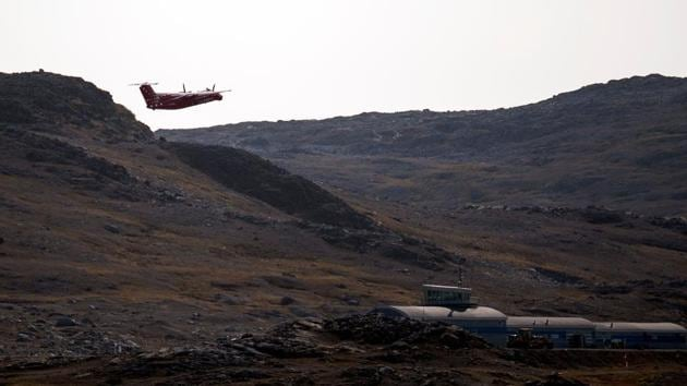 An aircraft of Air Greenland departs from Kulusuk. Arrivals to the island grew 10 percent year-on-year from 2014 to 2017, and three percent in 2018, according to the tourist board, Visit Greenland. Many adventure seekers and nature lovers arrive by plane, but cruise ships also bring admirers, hugging the picture perfect coastline. (Jonathan Nackstrand / AFP)