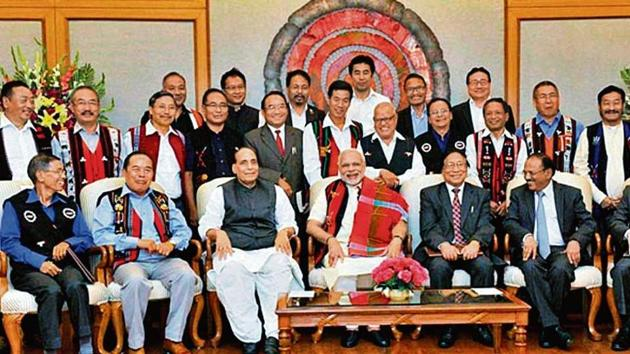 PM Narendra Modi, Union minister Rajnath Singh (third from left) and NSA Ajit Doval (extreme right) with members of NSCN (IM) as Centre and NSCN ink peace accord in 2015.(PTI File Photo)