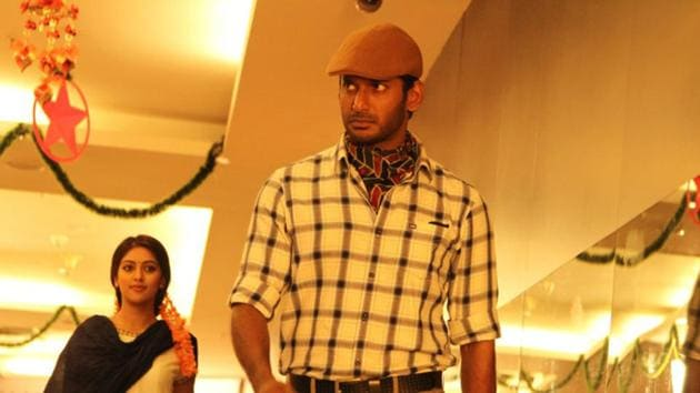 Vishal in a still from Thupparivaalan 2.