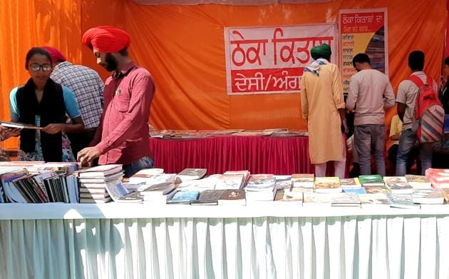 The posters that led to the argument between an exhibitor and the head of the publication bureau at the book fair at Punjabi University in Patiala on Tuesday.(HT PHOTO)