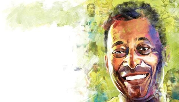 Pelé made his international debut in 1957 and the following year played his first game in the World Cup in Sweden.(ILLUSTRATION: MOHIT SUNEJA)