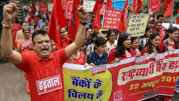 Employees raise slogans during the strike in Bhopal, Madhya Pradesh. CH Venkatachalam, general secretary of the AIBEA, said the plan was to expand the protest movement to other bank employees as well, taking it up to nearly a million workers to force the government to reconsider its decision. (PTI)