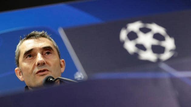 Barcelona coach Ernesto Valverde during the press conference(REUTERS)