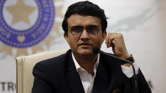 Newly-elected President of the Board of Control for Cricket in India (BCCI) Sourav Ganguly attends a press conference.(AP)