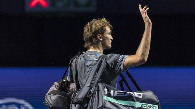 Germany's Alexander Zverev leaves after losing to Taylor Fritz of the United States(AP)