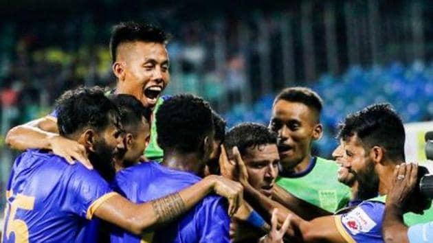 Players of Mumbai City FC celebrate after a goal.(Mumbai City FC/ Twitter)