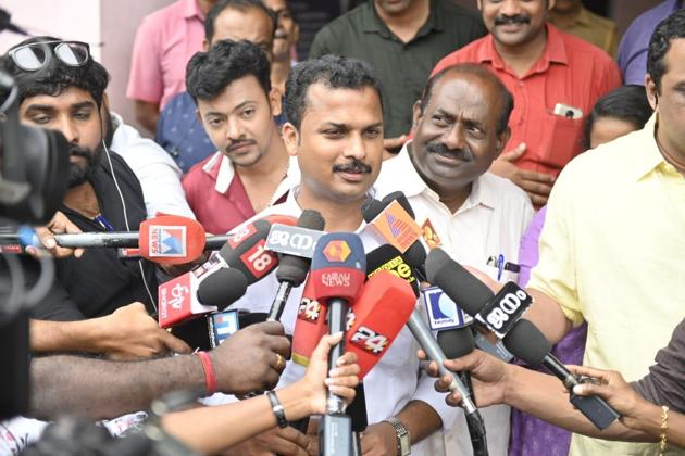 CPIM candidate V K Prashanth won the Vattiurkavuse by over 14,000 votes. Congress won three by-poll seats in Kerala and CPM won two.(HT Photo)