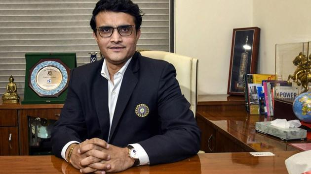 Sourav Ganguly poses for a photograph after taking charge as the new BCCI President(PTI)