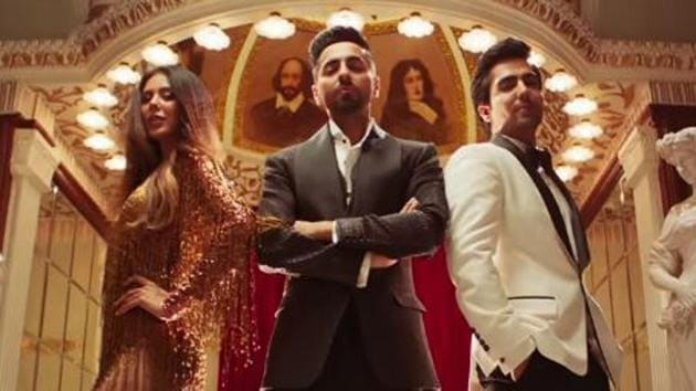 Ayushmann Khurrana in a still from the music video of Naah Goriye, the song from the film Bala.