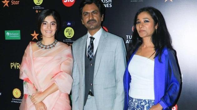 Actors Isha Talwar, Nawazuddin Siddiqui and Tannishtha Chatterjee at Jio MAMI 21st Mumbai Film Festival, in Mumbai. (IANS)