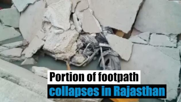 At least two people were injured after a portion of a footpath collapsed in Rajasthan's Sirohi. The collapse was captured on a CCTV camera. The footpath was constructed over a drain. The injured were rushed to a hospital.