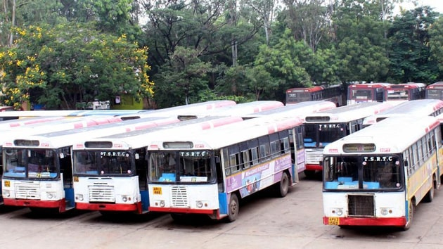 More than 49,000 employees and workers unions of TSRTC began an indefinite strike from October 5 across Telangana, demanding RTC's merger with the government and recruitment to various posts, among others.(Photo: ANI)