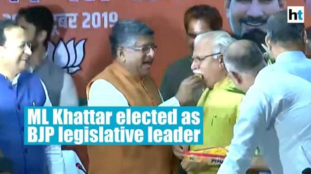 """Manohar Lal Khattar was on Saturday elected the leader of the Haryana BJP legislative Party, moving a step closer to second straight term as the state's chief minister. Khattar will now meet the Governor to stake claim to form the government, a day after sealing a deal with Dushyant Chautala's fledgling Jannayak Janata Party (JJP). The BJP won 40 seats, six seats short of a simple majority and seven fewer that what it won five years ago. Union Minister Ravi Shankar Prasad, who was also present at the BJP legislative party meeting said: """"We will go to meet the Governor Satyadeo Narain Arya, and request him to invite us to form the government."""""""