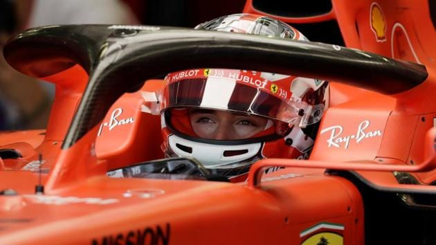 Ferrari's Charles Leclerc in pits before practice.(REUTERS)