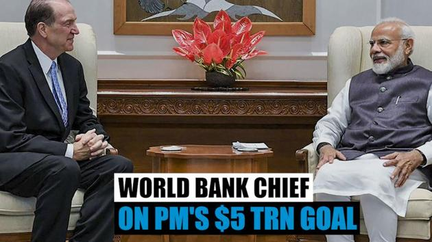 World Bank President David Malpass commented on Prime Minister Narendra Modi's goal of making India's economy worth $5 trillion in 5 years. Malpass called it a 'powerful vision'. He also commented on reforms introduced by the National Democratic Alliance government since it came to power in 2014. Malpass called on Prime Minister Modi andUnion Finance Minister Nirmala Sitharaman during his visit to India. He also delivered the keynote address at the NITI Aayog lecture series.