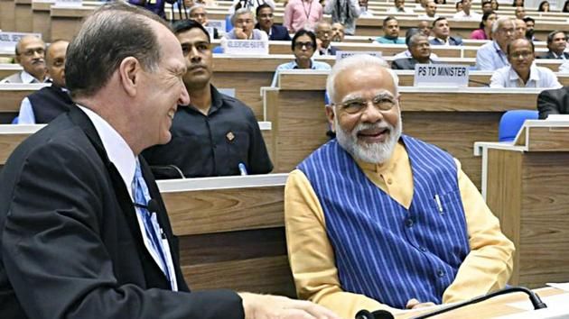 Prime Minister Narendra Modi and World Bank President David Malpass during the 5th edition of the NITI Aayog Lecture series, in New Delhi on Saturday.(ANI Photo)