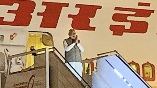 Prime Minister Narendra Modi emplanes for Riyadh, Saudi Arabia, on Monday(PTI photo)