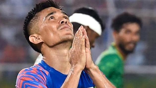 Sunil Chhetri reacts after missing a goal during FIFA World Cup 2022 Qualifier match against Bangladesh.(PTI)