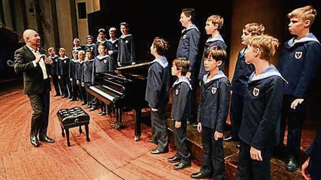 The choir is currently comprised of 23 boys aged 10 to 14, including students from Japan, Korea and Syria. The conductor here was Jimy Chiang from Hong Kong.(Pratik Chorge / HT Photo)