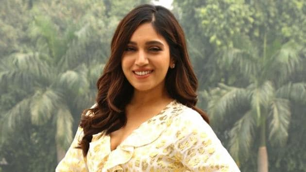 Bhumi Pednekar during a programme organised to promote their upcoming film Bala in New Delhi.(IANS)