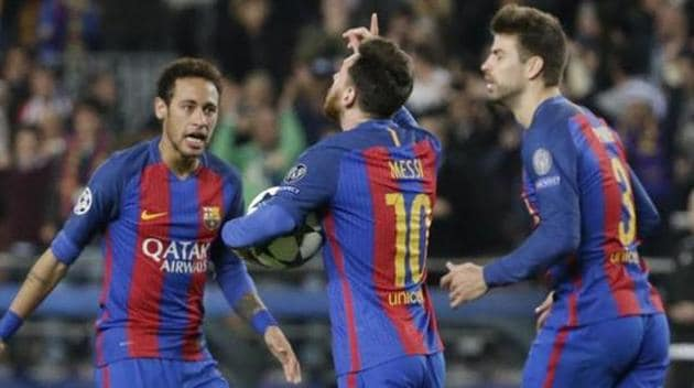 File image of Neymar celebrating a goal with Lionel Messi and Gerard Pique (L-R).(AP)