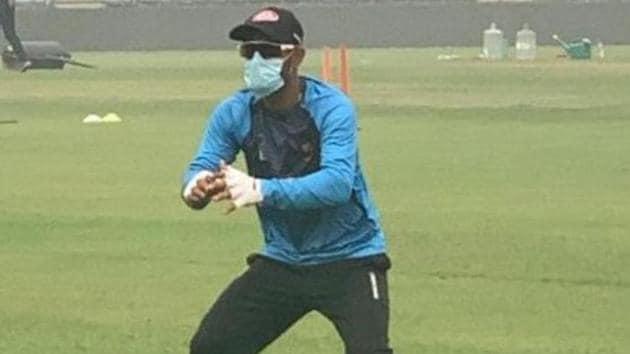 Bangladesh cricketer Liton Das wears a mask in New Delhi on Thursday(ANI)