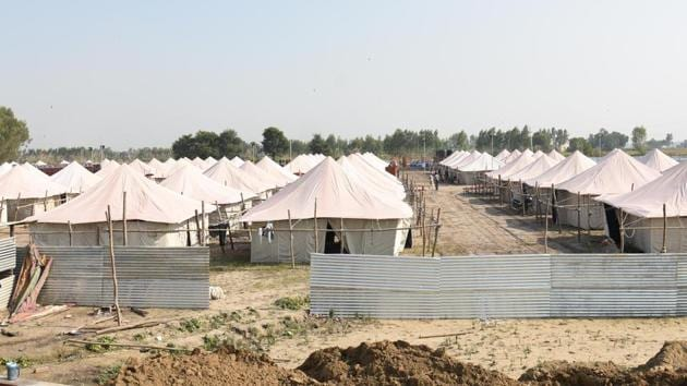 A view of the Tent city at Dera Baba Nanak in district Gurdaspur on Wednesday. October 30, 2019.(Sameer Sehgal / HT Photo)