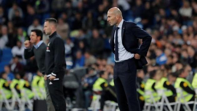 Real Madrid coach Zinedine Zidane against Leganes in La Liga.(REUTERS)