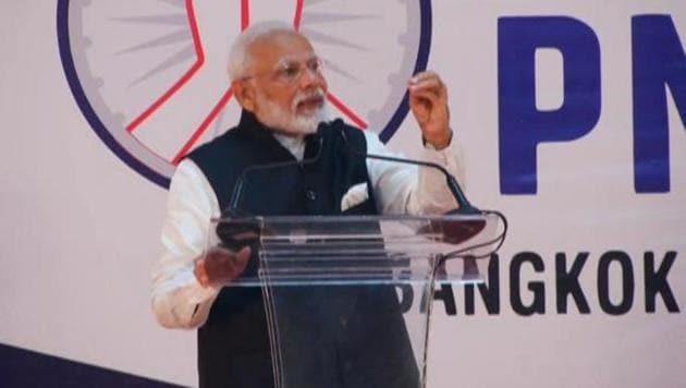 """At 'Sawasdee PM Modi' event in Bangkok, Prime Minister Narendra Modi hailed the """"deep friendly and historical relationship"""" with Thailand on Saturday.(@BJP4India/Twitter)"""