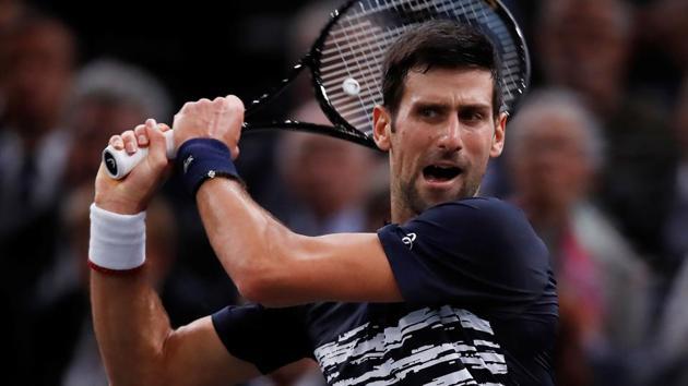 Serbia's Novak Djokovic in action during his semi final match against Bulgaria's Grigor Dimitrov.(REUTERS)