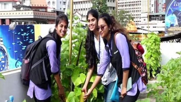 Students participate in terrace gardening at Milagres College.(ANI)