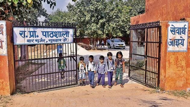 At present, there are 57 registered students in the Government Primary School, Bar Gujjar, Gurugram, of whom the majority, 38, are girls.(Yogesh Kumar / HT Photo)