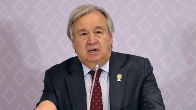 United Nations Secretary-General Antonio Guterres speaks during a press conference at The Association of Southeast Asian Nations (ASEAN) summit in Nonthaburi, Thailand.(AP photo)
