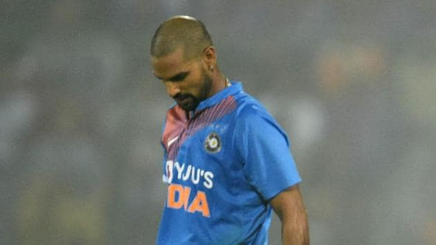 New Delhi: Indian batsman Shikhar Dhawan leaves the field after being dismissed.(PTI)
