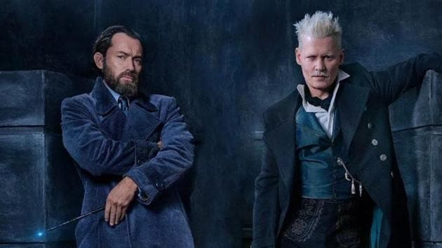 Jude Law as Albus Dumbledore and Johnny Depp as Gellert Grindelwald.