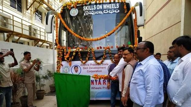 Andhra Pradesh State Skill Development Corporation launched 'Skills on Wheels' bus on Thursday.(ANI)