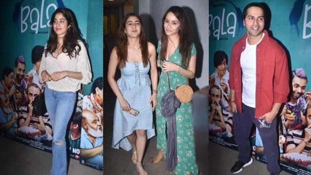 Janhvi Kapoor, Sara Ali Khan, Shraddha Kapoor and Varun Dhawan at Bala screening in Mumbai.(Varinder Chawla)