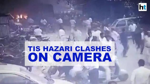 CCTV visuals of the clashes between police and lawyers at the Tis Hazari court in the capital is now out. Lawyers had set a police vehicle on fire after a tiff over parking led to a big faceoff between the two sides. The CCTV visuals show DCP North Monika Bhardwaj being roughed inside the court premises. Lawyers and policemen have both accused each other of unleashing violence on each other.
