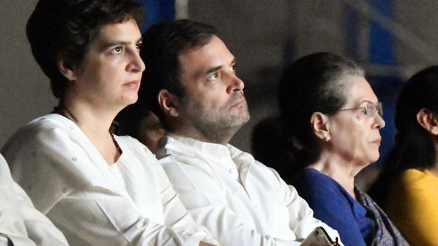 Priyanka Gandhi Vadra, Congress leader Rahul Gandhi and Sonia Gandhi(ANI photo)