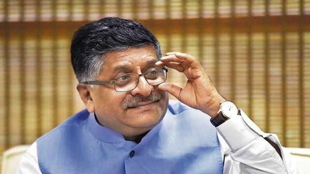 It was a moment of accomplishment for Union minister Ravi Shankar Prasad on Saturday as the Supreme Court delivered its verdict in the Ayodhya land title dispute.(Sonu Mehra/HT Photo)