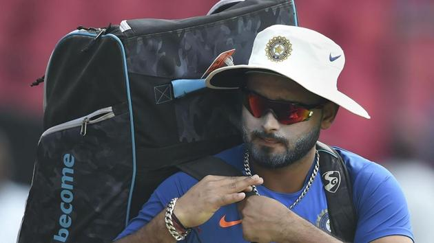 Indian player Rishabh Pant during a practice session ahead.(PTI)