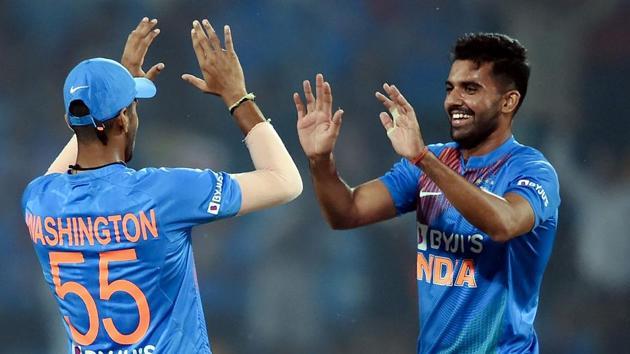 Deepak Chahar celebrates with teammate Washington Sundar.(PTI)