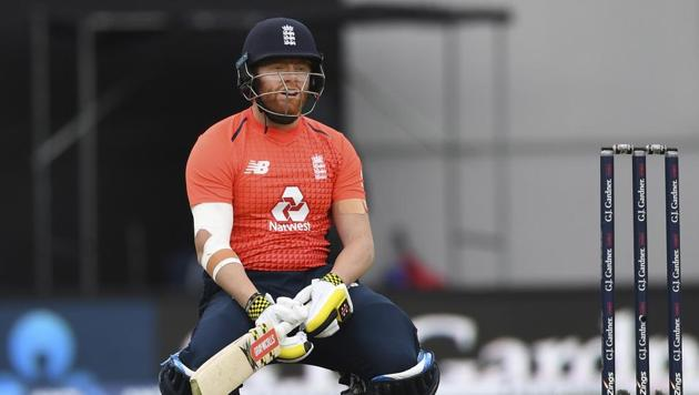 Jonny Bairstow reacts while batting against New Zealand during their T20 match at Eden Park.(AP)