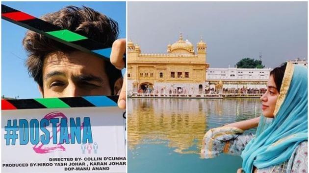 Dostana 2 stars Kartik Aaryan, Janhvi Kapoor and newcomer Lakshya in lead roles.(Instagram)
