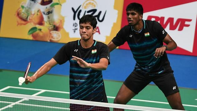Satwiksairaj Rankireddy and Chirag Shetty of India during the BCA Indonesia Open Super Series Premier 2017.(Getty Images)