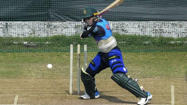 Mushfiqur Rahim plays a shot during a practice session.(PTI)